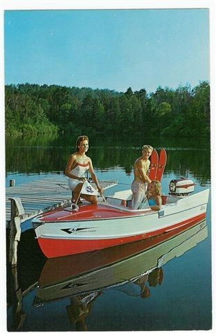 vintage boating postcard - skis