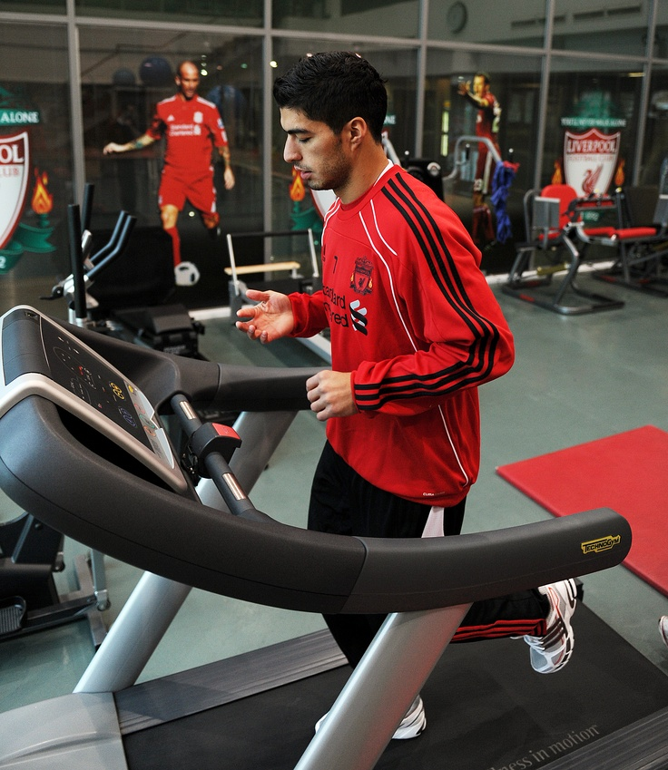 Luis Suarez training hard in the state-of-the-art Melwood gym