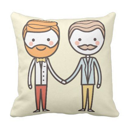 hipster men beard gay pride Valentine's Day pillow - valentines day gifts diy couples special day