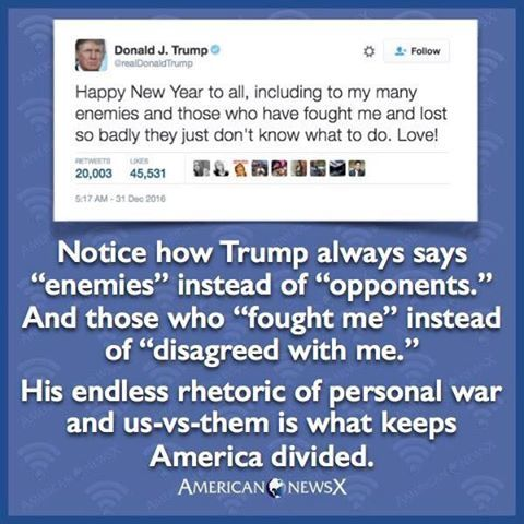 Trump's nonstop rhetorical tally of enemies, fights and personal battles/us-vs-them is contributing mightily to an even further divided, hostile and combative America!!
