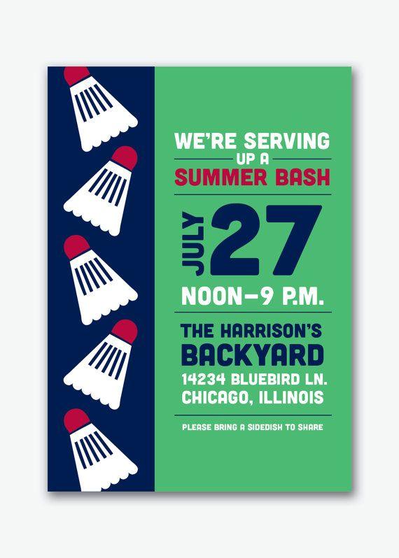 preppy badminton backyard summer party invite by viavaciousdesigns, $20.00