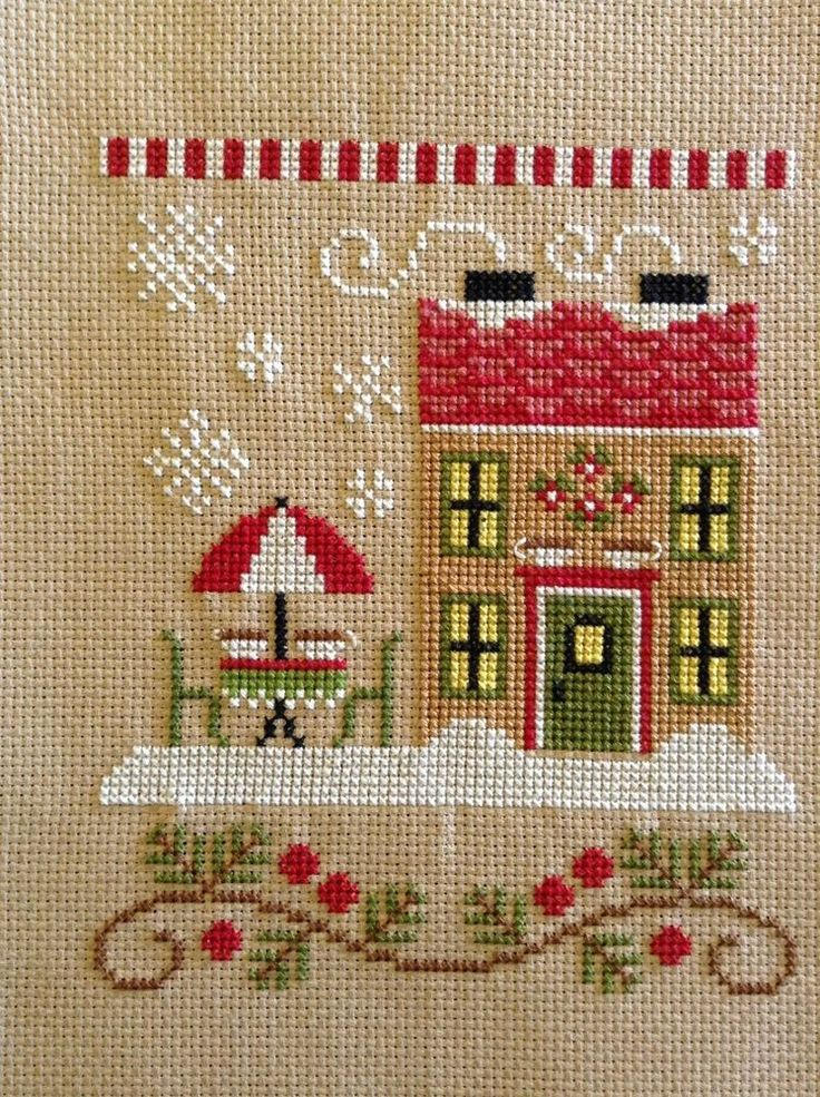 completed cross stitch Country Cottage Needleworks Christmas Hot Cocoa Cafe