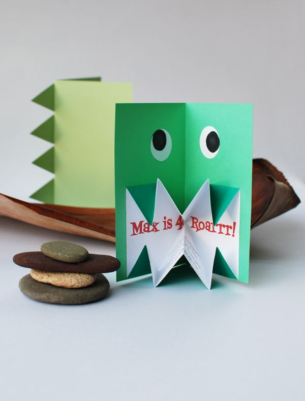 DIY pop-up origami monster card