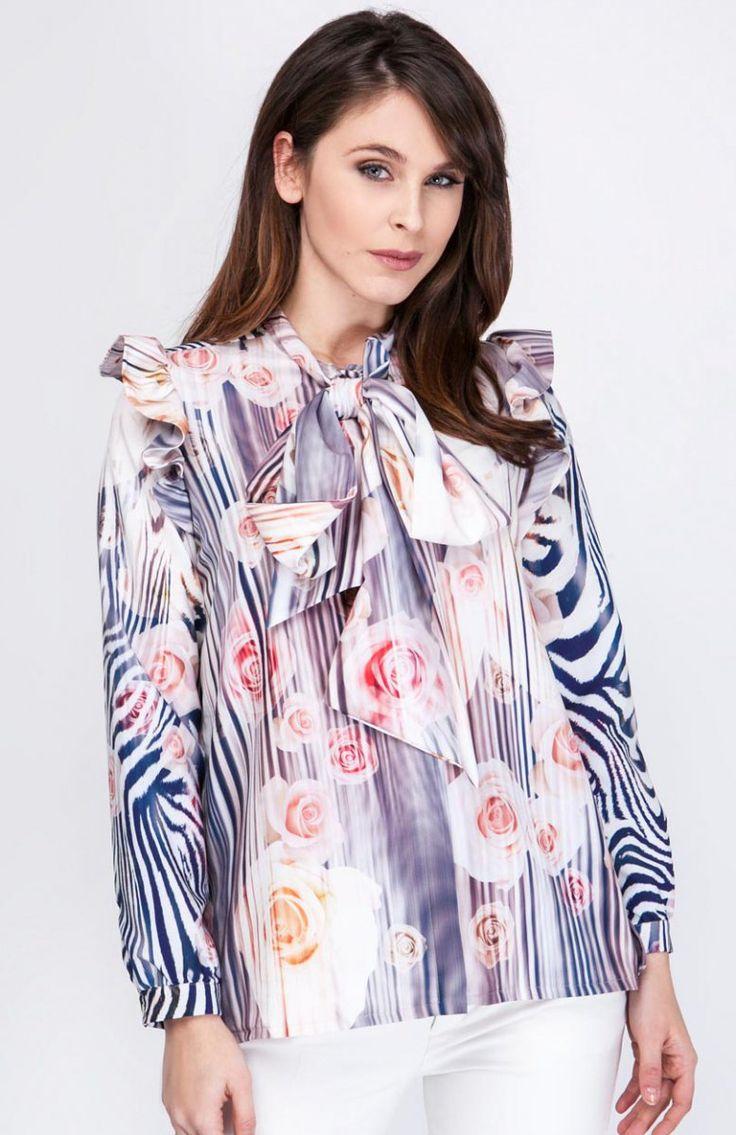 Milu by Milena Płatek MP289 koszula zebra Elegancka koszula damska, wykonana z miękkiej i delikatnej dzianiny, zapinana z przodu na napki