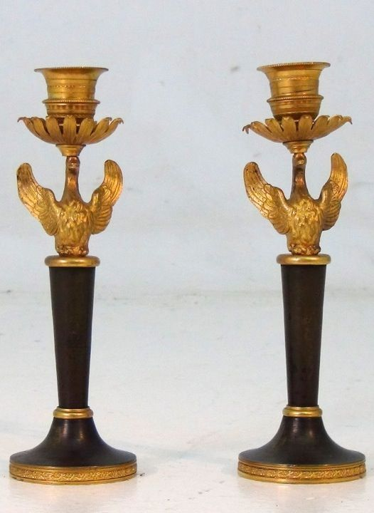 A rare set of Russian candlesticks, beg. 19th C. Gild bronze. http://www.selected-antiques.dk/11465-1v--------a-rare-set-of-russian-candlesticks-beg-19th-c-gild-bronze