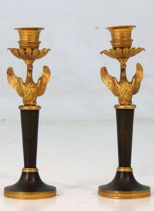 A rare set of Russian candlesticks, beg. 19th C. Gild bronze. http://www.selected-antiques.dk/11465-1v--------a-rare-set-of-russian-candlesticks-beg-19th-c-gild-bronze