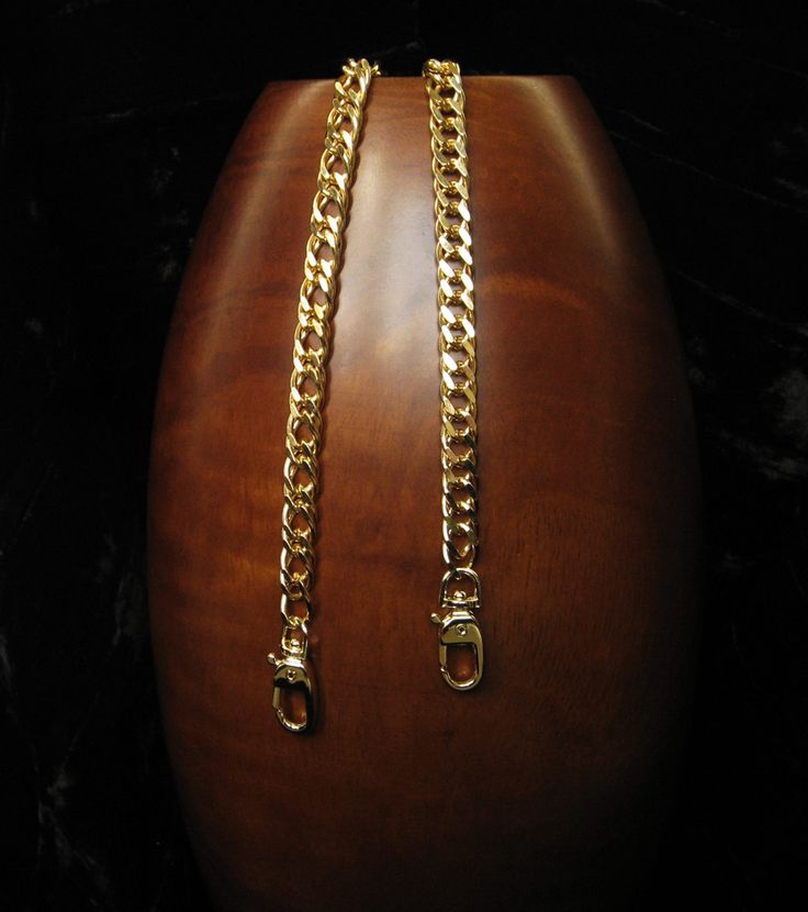 """GOLD Chain Purse Strap - Diamond Cut Double Curb Chain - 3/8"""" (.375 inch) Wide - Your Choice of Length"""