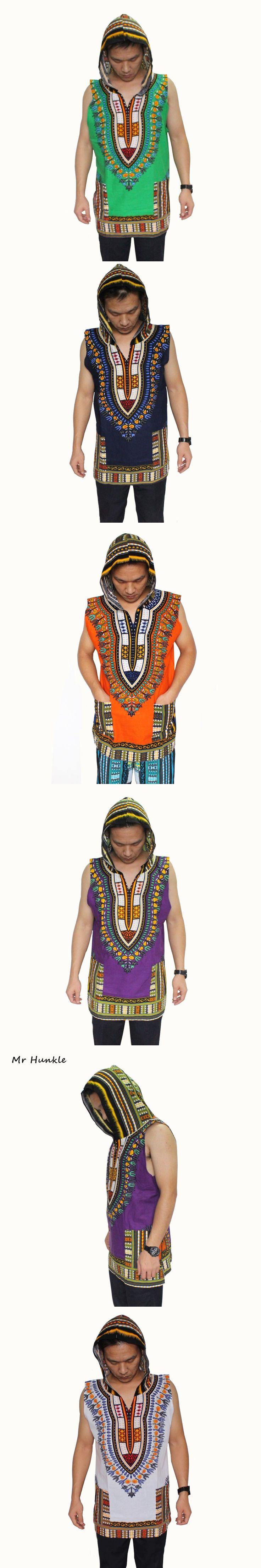 Mr Hunkle New Fashion Dashiki Hoodies Loose Sleeveless African Print Dashiki Fabric Hood 100% Cotton Robe Clothing Unisex Kimono