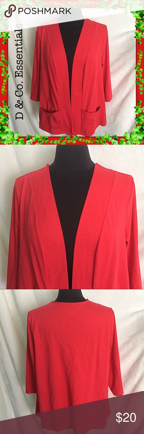 """D & Co. Essentials / Coral Jacket / Size XL D & Co. Essentials / Coral Jacket / Size XL /  Approx Measurements:  Bust: 50"""" Length: 26"""" 95% cotton 5% spandex Two Pockets / Fits Comfortably!  Please feel free to make an offer - Enjoy BIG discounts on bundles & save $$$ on shipping! I package safely & ship fast.  TY & Happy Poshing! 💜💜💜  D7 D & Co. Jackets & Coats"""