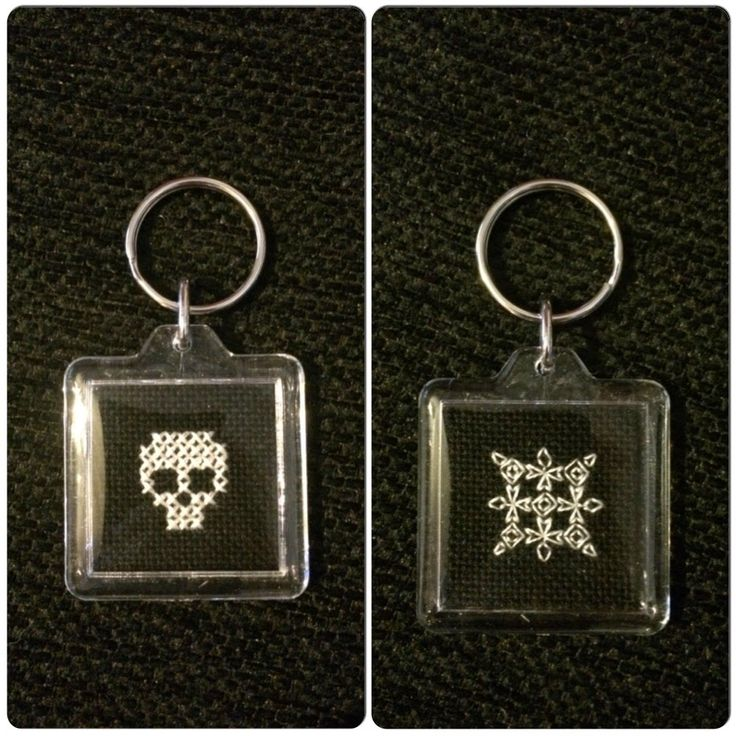 A needle and some thread: Cross stitched skull and blackwork keyring