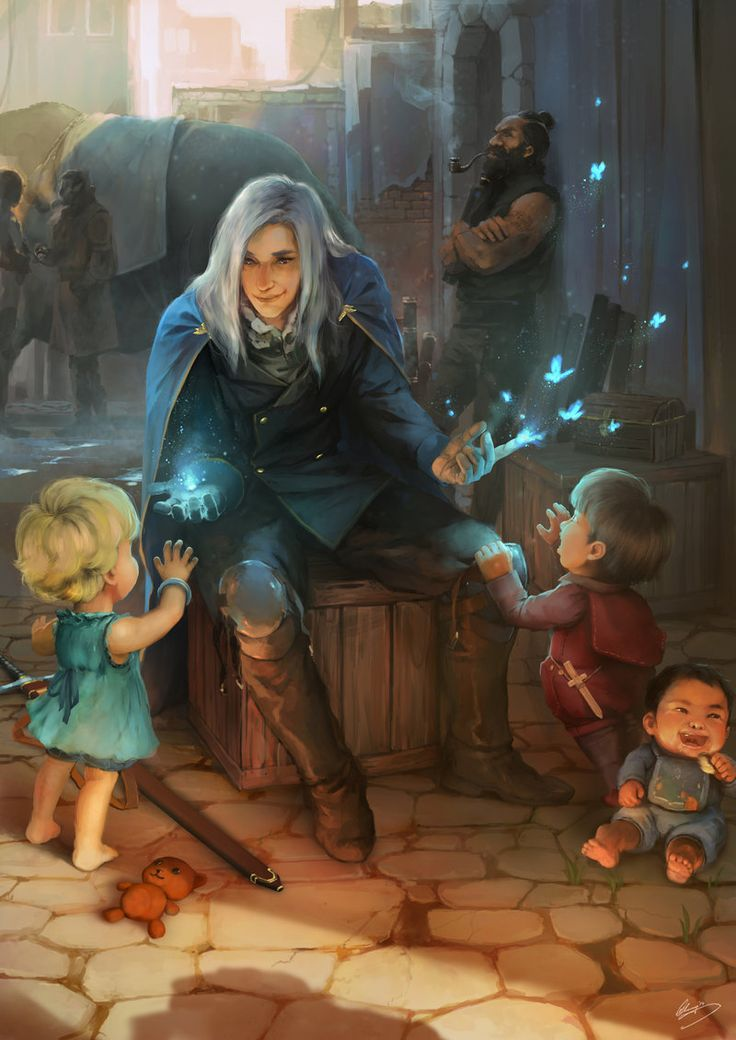"""He sat patiently waiting for his ship home. The war was long over and there was no more need for a battlemage.  The children ran around him, playing cheerfully amongst the crates and packages that were on their way to distant lands. As with all children they became curious, about his bright magi cloak, his silvery white hair, his purple eyes, but most of all they were fixated on the blue glow emanating from his hands. He lit up a conjuring, a small crackle as the butterflies flapped away…"