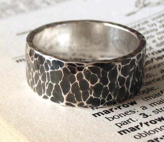 Men's Ring, Wedding Band, Sterling Silver, Dark Silver, Thick Band, Rugged, Hammered, Gothic - Marrow Ring