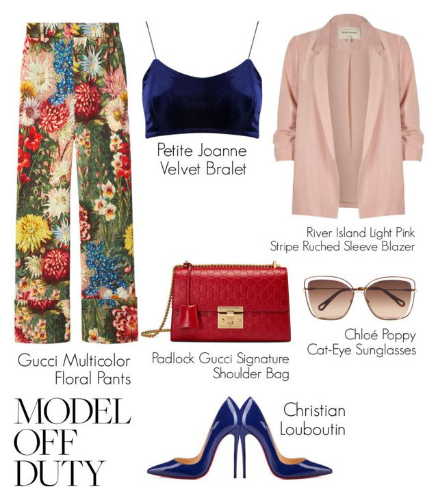 """Untitled #49"" by hfirlyana on Polyvore featuring Gucci, River Island, Christian Louboutin and Chloé"