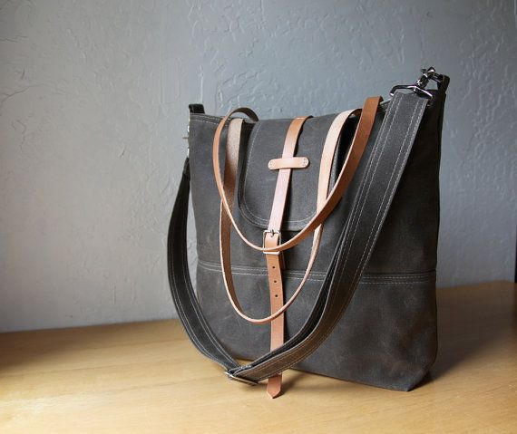 Waxed Canvas Tote // Tall // With leather straps and by infusion, $135.00