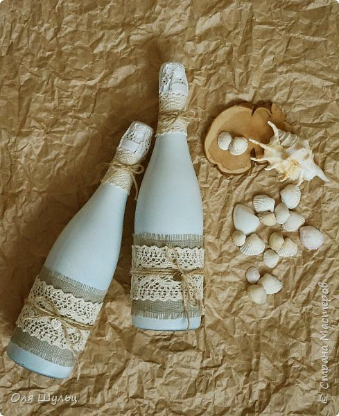 Всем привет))) Еще небольшая порция свадебной тары))) Бутылки в стиле рустик)) фото 2