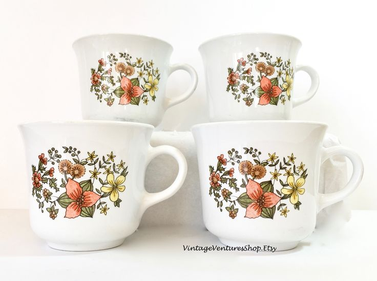Corelle by Corningware! 1970s Indian summer pattern, set of 4 cups at #VintageVenturesShop #Etsy to buy click image #Vintage #Retro #Corningware #Corelle #1970s #Seventies #RetroKitchen #VintageKitchen #IndianSummerCorelle #VintageDishes #VintageCoffeeCups #CoffeeCups #CoffeeMugs