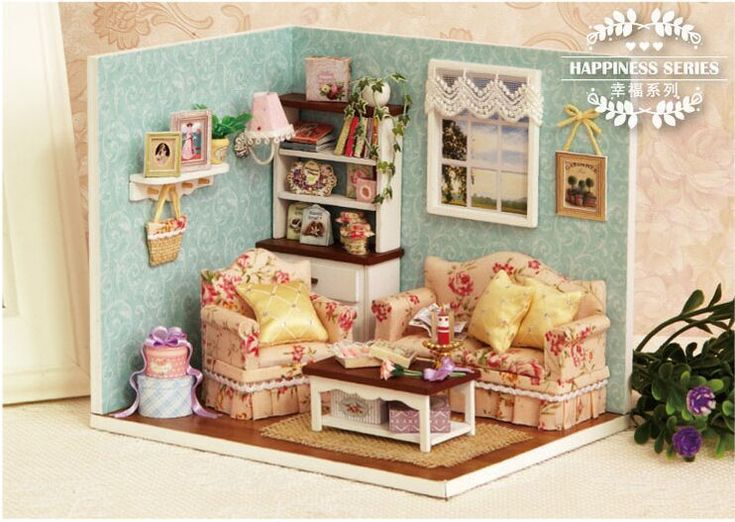 Cuteroom Dollhouse Miniature DIY Wood Kit Dolls House With Cover And LED  Toy Christmas Gift Birthday Gift Cute Room  Happy Time