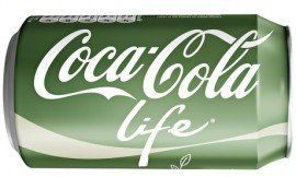 Coke Life comes in a green can. A 330ml can of regular Coca-Cola contains 35 grams of sugar, 39% of an adult's guideline daily amount (GDA) of sugar. A Coca-Cola Life contains only 22.1 grams of sugar or 25% of an adult's GDA.  It is sweetened with a blend of stevia (in 2007, Coca-Cola and Cargill teamed up to create Truvia, a consumer brand of stevia sweetener) and sugar. (Marlboro Lights?)