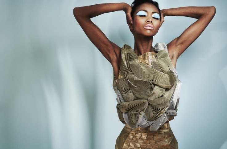#Metallics. #Top #Skirt Steve J and Yoni P. Photographer: Mark Cant Styling: Guy Hipwell