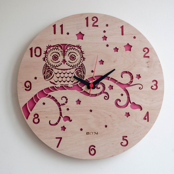 """Modern Wall Clock """"OWL"""",  Large Wall Clock, Wooden Clock, Wood Decor, kids clock, wood, plywood, interor decor, handmade, Hermle, Swarowski by Lines4room on Etsy https://www.etsy.com/listing/272235080/modern-wall-clock-owl-large-wall-clock"""