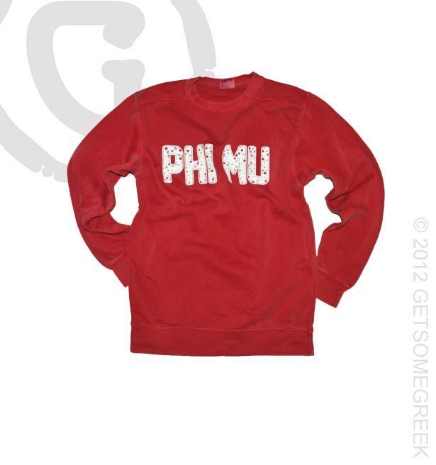 Phi Mu Red Comfort Colors Sweatshirt w/Color Flecked Block Letters!! GetSomeGreek & ΦΜ