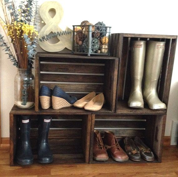 Tired of your kids throwing their boots in the entry hall? Your solution: Four wood crates made of pine create a beautiful and practical storage space for shoes, books, or decor. Perfect for your entryway or mudroom.  Height at tallest point: 30 inches Width: 36 inches  All pieces are custom made. Customize your stain to perfectly match your home decor. Not quite sure what would look best in your space? Contact Sugar River Restoration for complementary design services and recommendations…