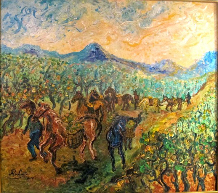 Kuda Angkut by Rukmini Affandi 80 X 100 Cm Acrylic on Canvas