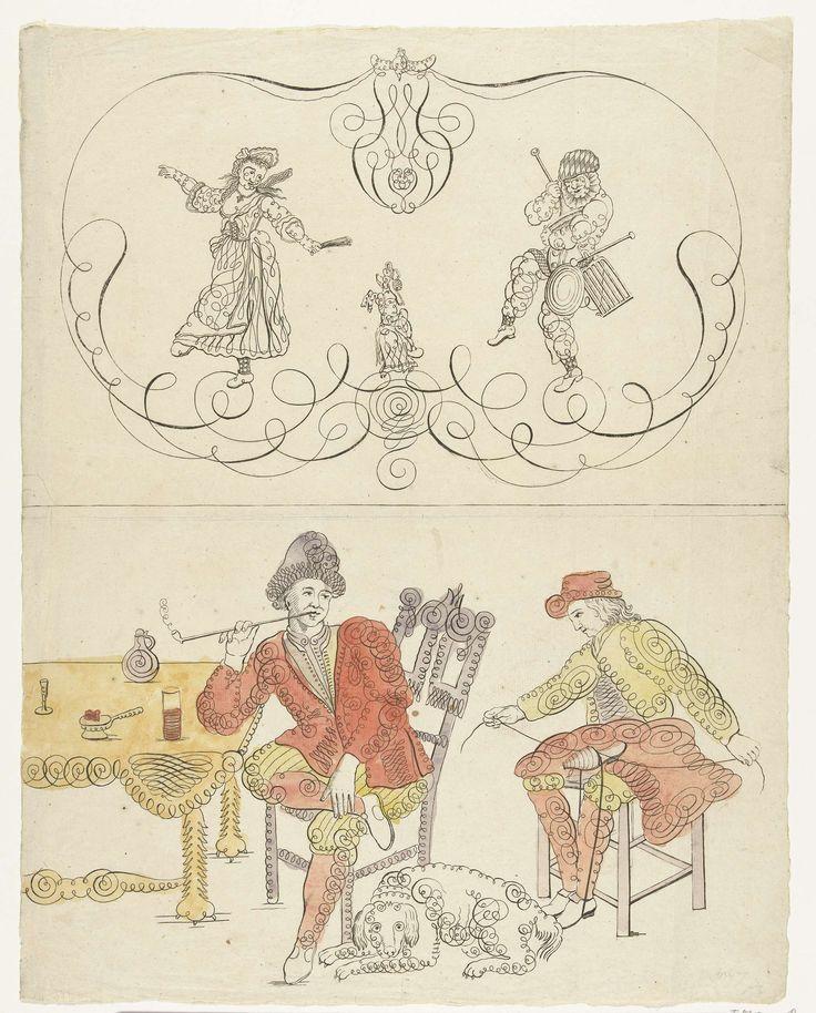 Krulwerkfiguren van dansers met een hondje en een roker en een schoenlapper, ca. 1700, anonymous, 1690 - 1700