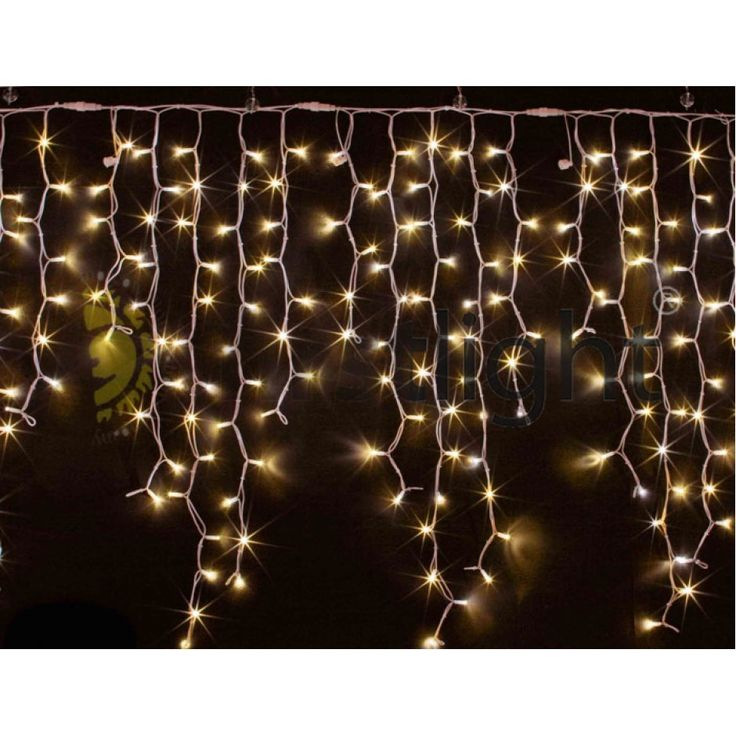 Влагозащищенная светодиодная гирлянда-бахрома мерцающая «Icicle LED», длина 3 м., высота: 1.40 м., свет: теплый белый.