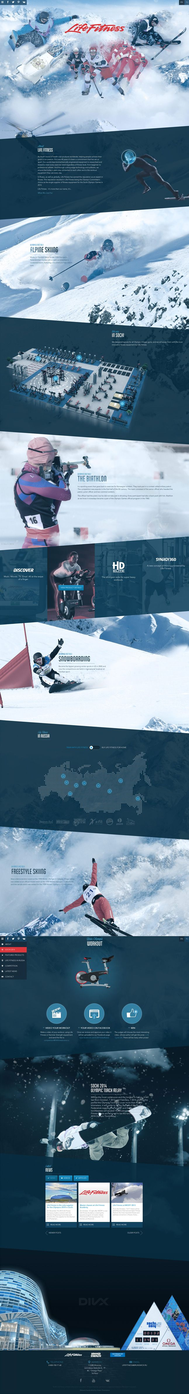 Winner 27 September 2013 Life Fitness at Sochi 2014 by Green Chameleon http://www.cssdesignawards.com/css-web-design-award-winner.php?id=23017 A one page promotional website for Life Fitness and their involvement at Sochi 2014 | #webdesign #it #web