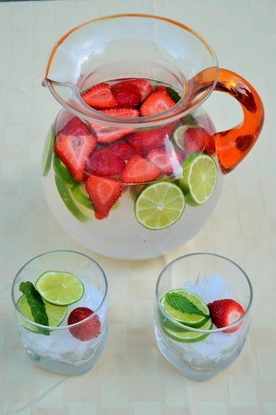Strawberry Coconut Lime Spa Water - The Kitchenthusiast | @jerseygirlcooks