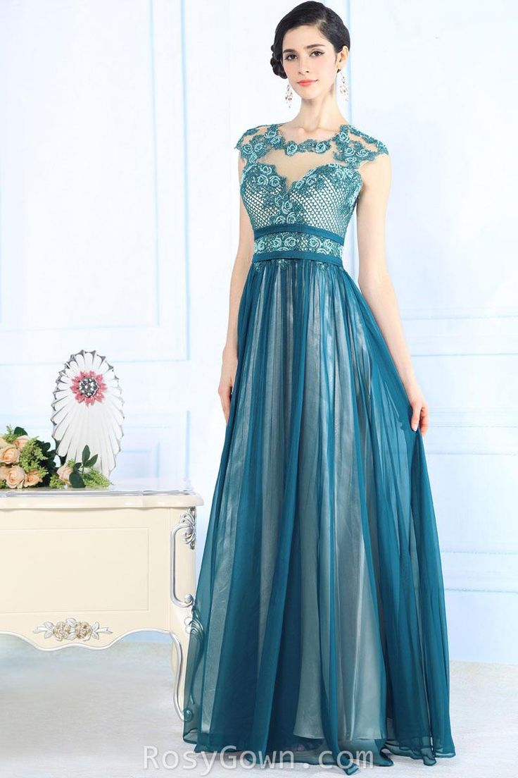 #beautiful illusion ink #blue cap sleeve empire long formal #dress