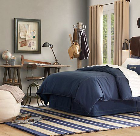 PERFECT!!!!!!! LOVE this wall color AND bedding and drapes LOVE LOVE LOVE vintage boys room architect theme