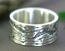 Bague écorce d'érable en argent, Simple anneau de mariage d'argent, Bande d'argent texturé écorce d'érable, Anneau rustique en argent