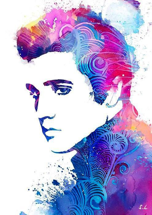 Elvis Presley WATERCOLOR- Watercolor Painting. Watercolor poster. Handmade poster. Art