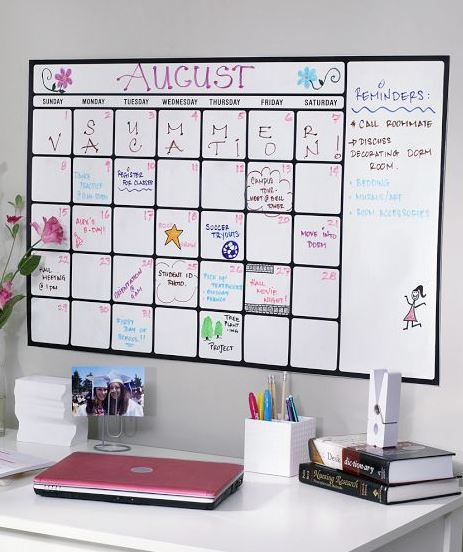 Love this Dry-Erase Calendar Decal from PBteen. Perfect for staying organized at school
