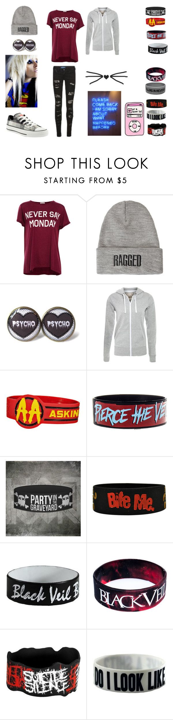"""""""tomorrows monday. :p but hey i only hsve a 2day week. thanku thanksgiving"""" by avril-lavigne-fan-forever ❤ liked on Polyvore featuring Pull&Bear, Core Spirit, Converse, The Ragged Priest and Goodie Two Sleeves"""