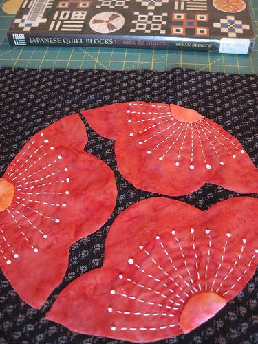 'Mitsu Ume' - 'three Plum Blossoms' from 'Japanese Quilt Blocks to Mix and Match' by Armchair Quilter