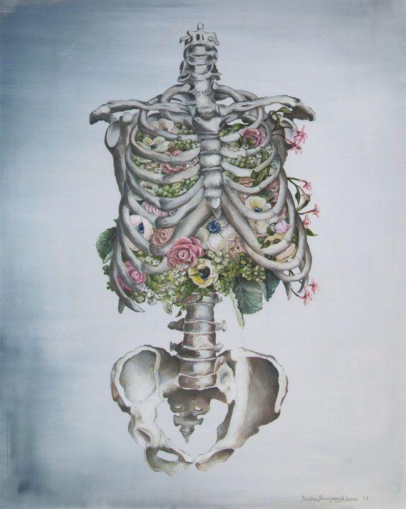 Floral Anatomy Skeleton Print of Oil Painting 8x10 by tinyartshop, $25.00