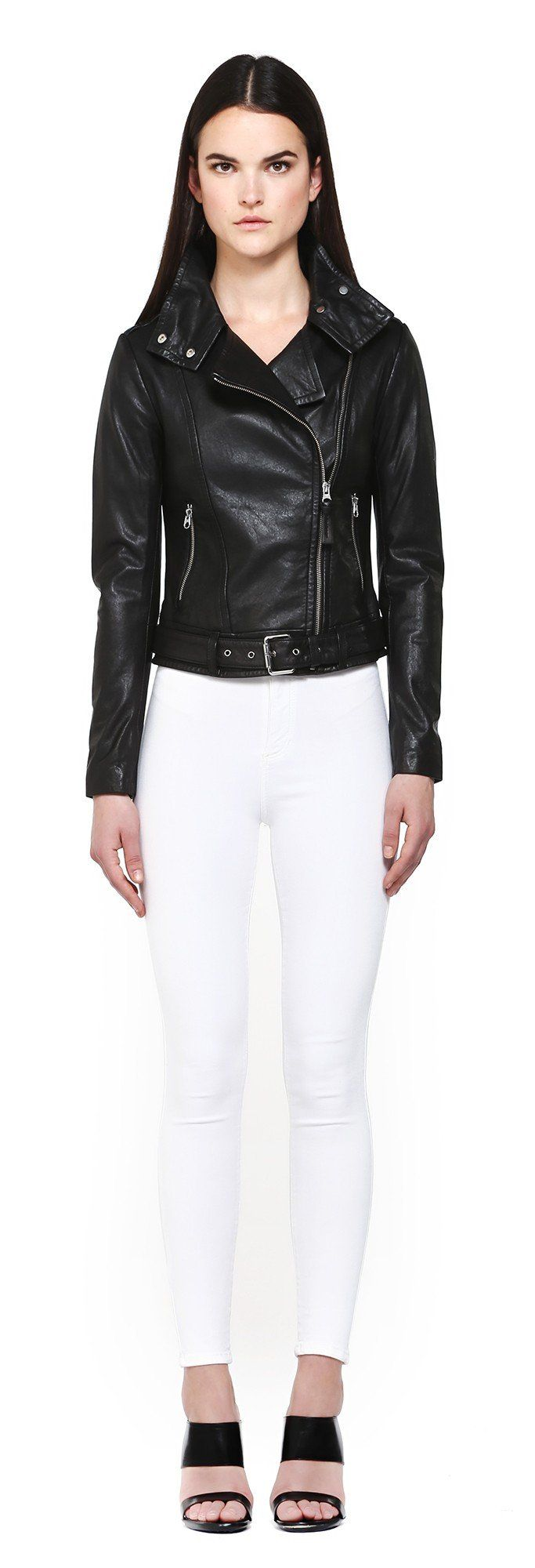 HANIA BLACK WASHED LEATHER JACKET WITH ASYMMETRICAL FRONT ZIPPER   FOR WOMEN   Mackage