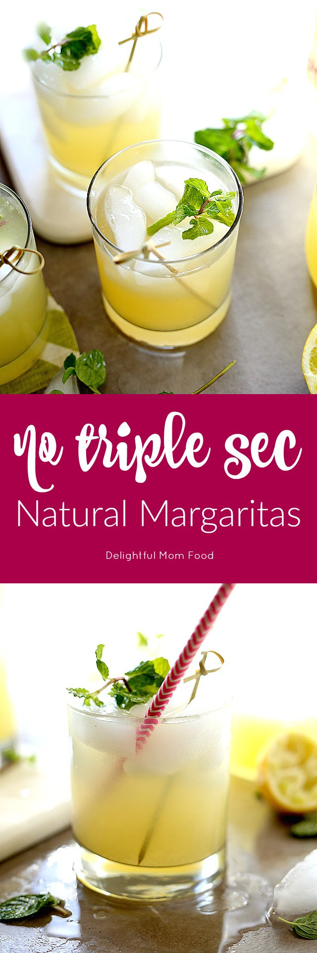 Skinny margarita recipe on the rocks made with 4 simple natural ingredients! No triple sec or processed sugars in this tasty lime enhanced cocktail!