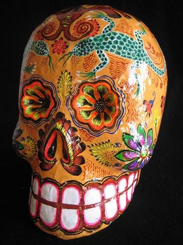Day of the dead skull 4  Paper Mache skull made by Great Master of Mexican Folk Art Felipe Linares