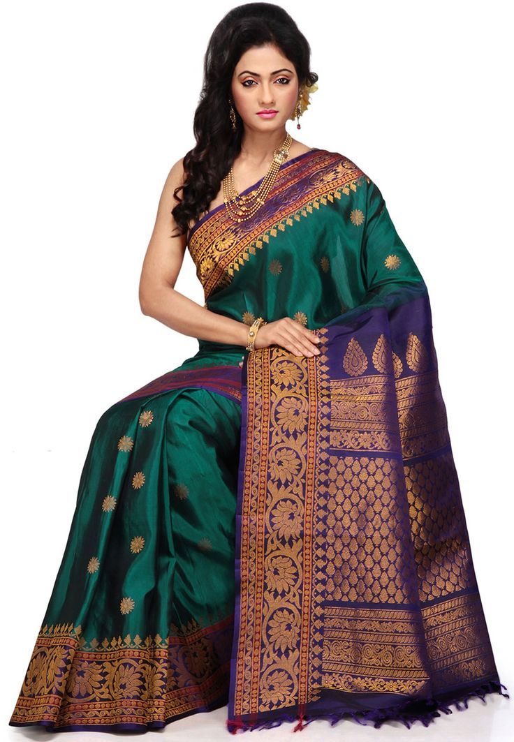 Buy Dark Teal Green and Blue Pure Gadwal Handloom Silk Saree with Blouse online, work: Hand Woven, color: Blue / Teal Green, usage: Wedding, category: Sarees, fabric: Silk, price: $353.75, item code: SBE198, gender: women, brand: Utsav