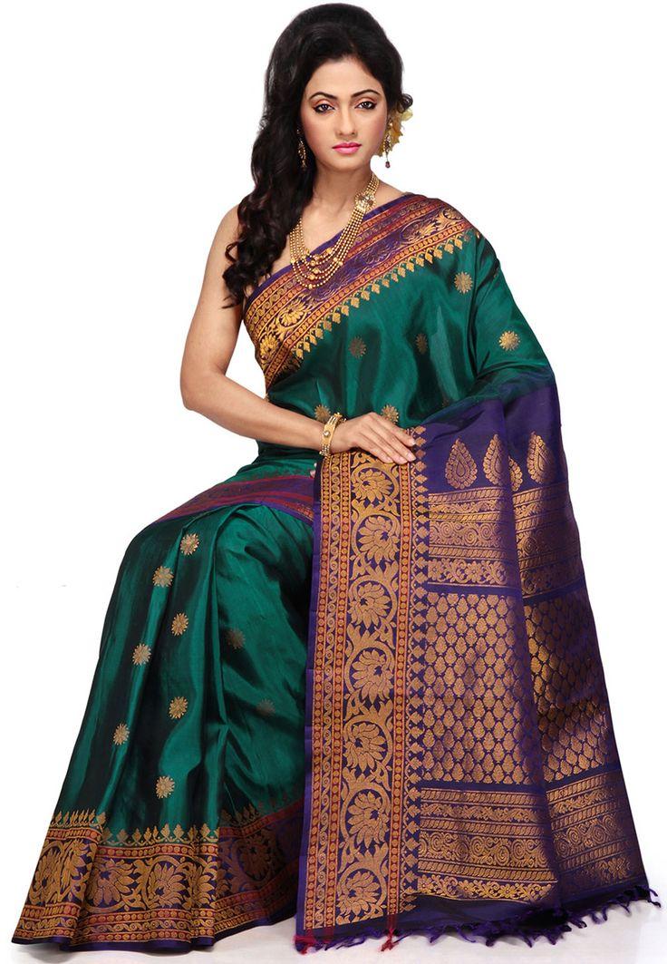 Buy Dark Teal Green and Blue Pure Gadwal Handloom Silk ...