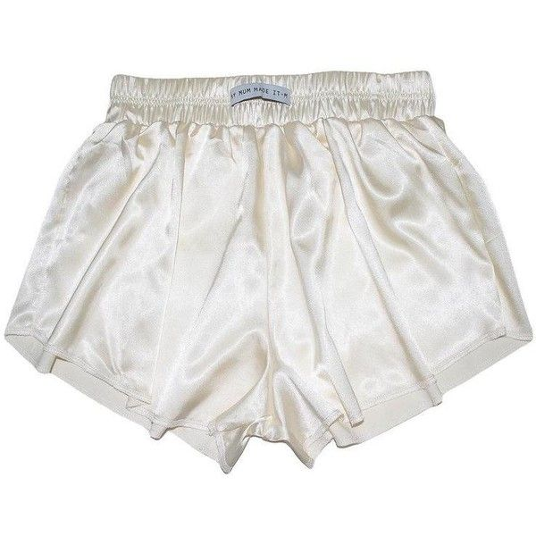 Vintage White High Waist Satin Shorts (115 RON) ❤ liked on Polyvore featuring shorts, off white shorts, high rise shorts, highwaist shorts, high-waisted shorts and high-rise shorts