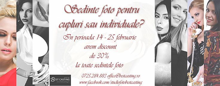 Sedinte foto pentru cupluri sau individuale? In perioada 14 - 25 februarie avem discount de 30% la toate sedintele foto! Va asteptam!