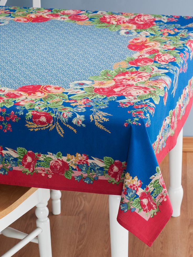 Wonderful Marion Blue Tablecloth From April Cornell Captures The Beauty Of A  Blossoming Flower Garden.
