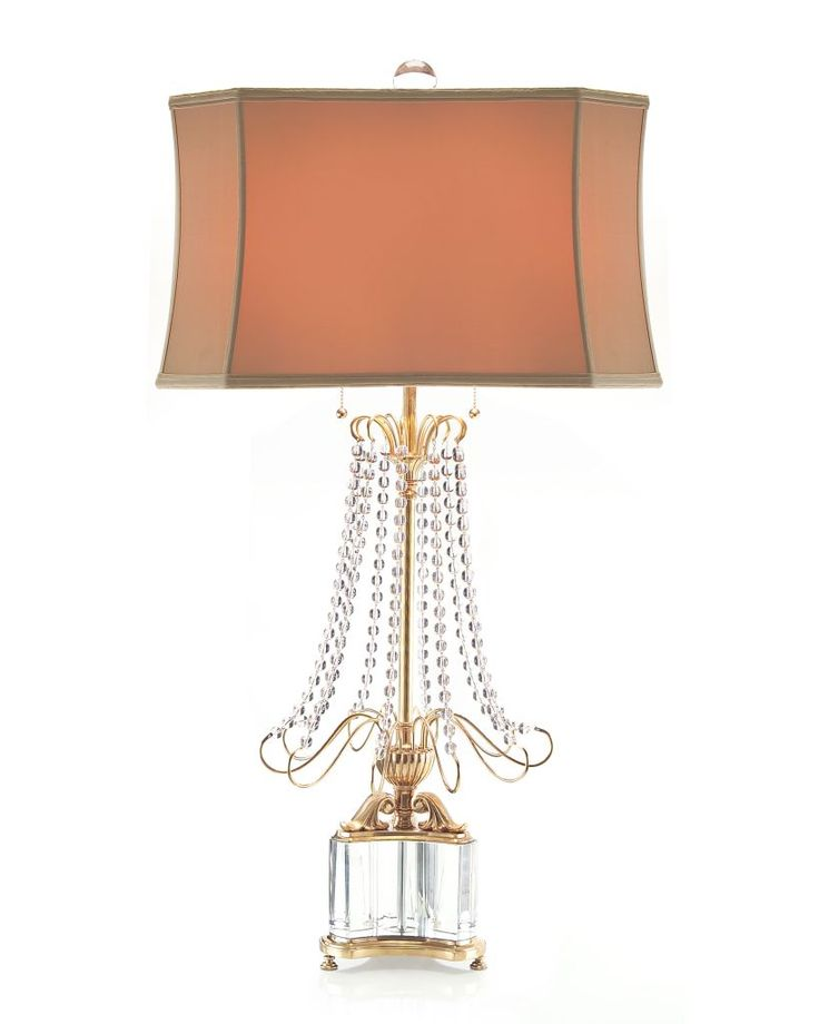 Large Scale Brass And Crystal Table Lamp With Crystal Beaded