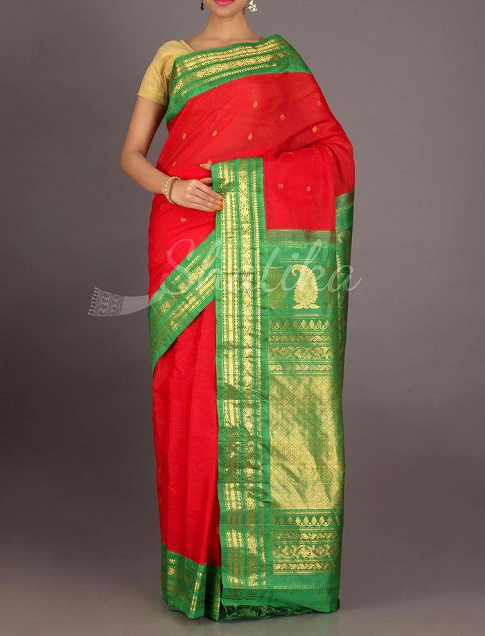 Kamiya Gold Stripe Border Pure Gadwal Silk Cotton Saree