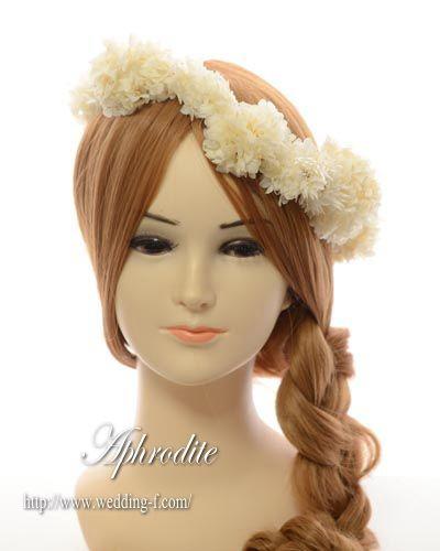 ウエディングドレス用 「白アジサイの花冠(プリザーブド)